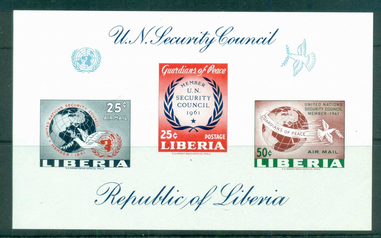 Liberia 1961 UN Security Council IMPERF proof, gummed MS MUH