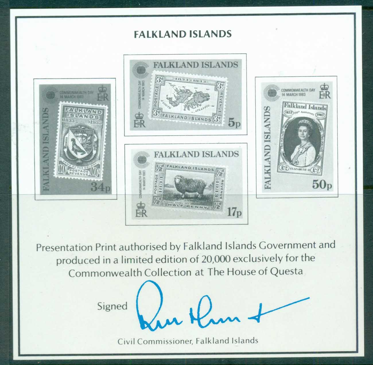 Falkland Is 1893 Commonwealth Day Blakc Print MS