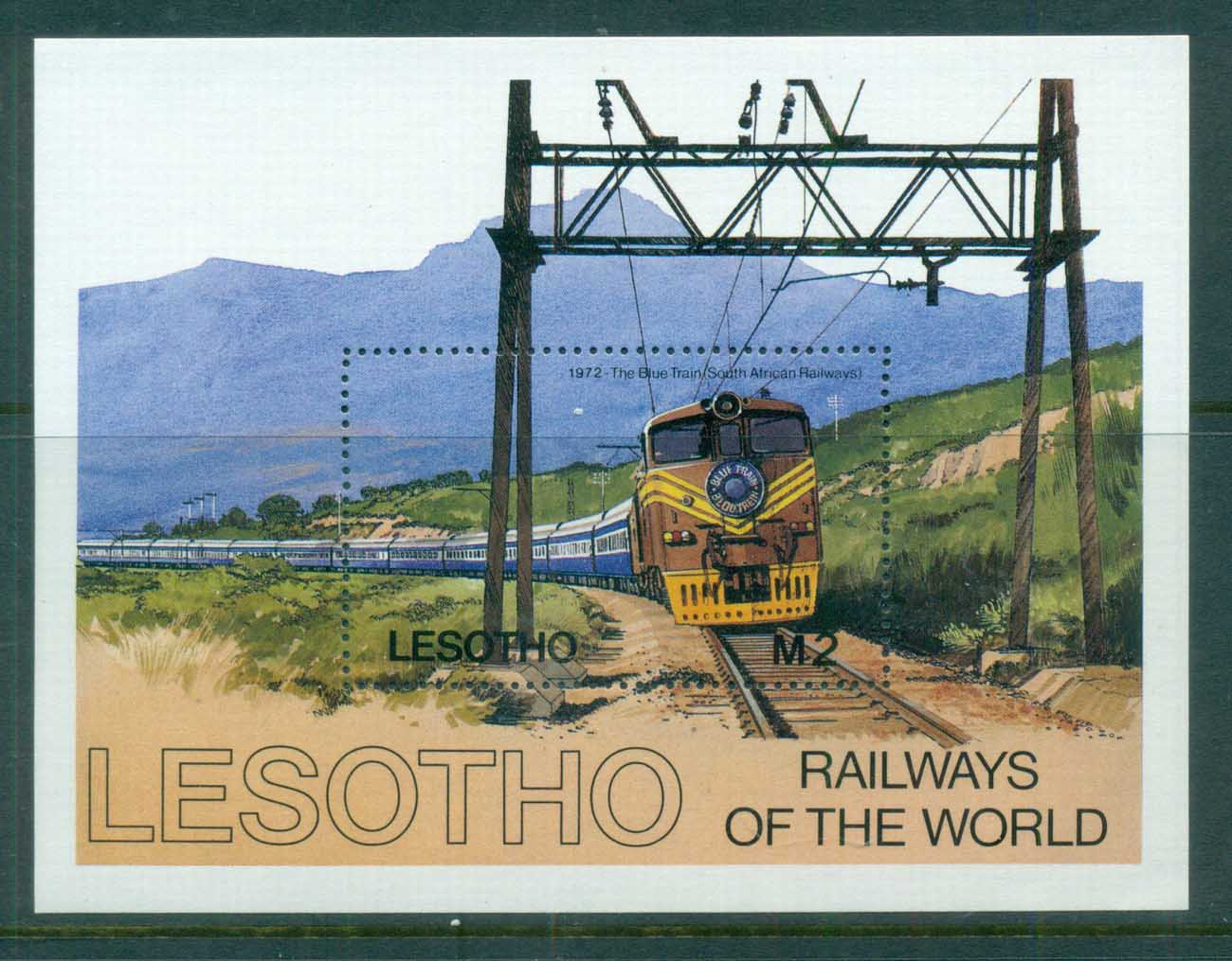 Lesotho 1984 Trains MS MUH