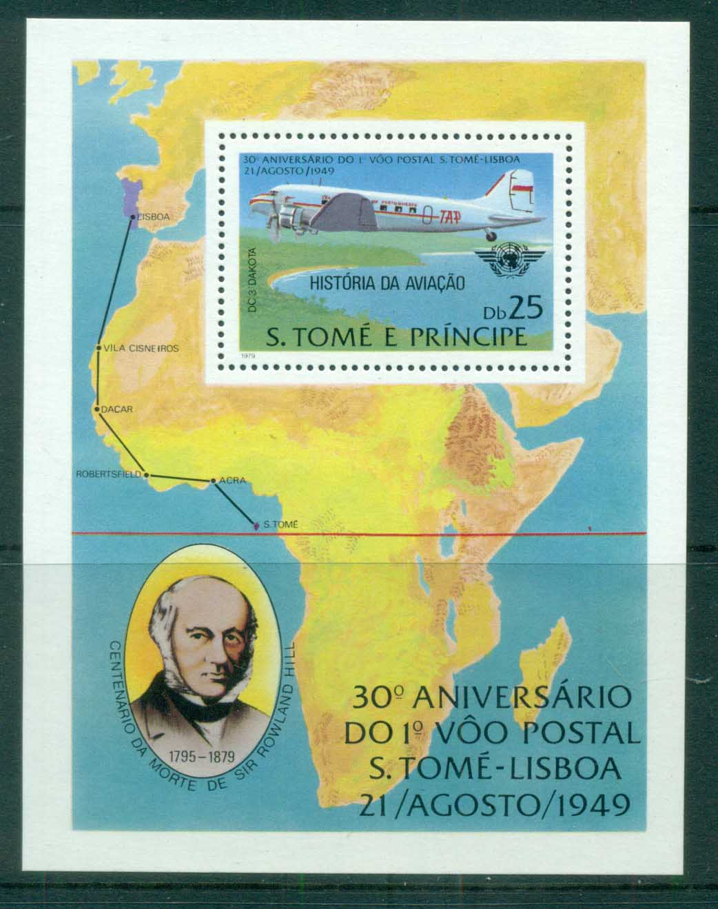 Sao Tome et Principe 1979 Rowland Hill, History of Aviation MS MUH