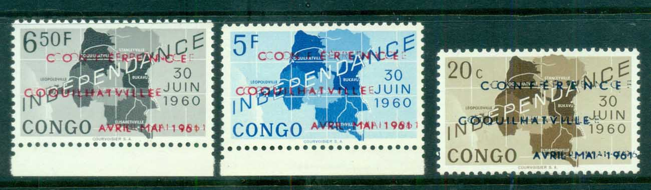 Congo DR 1961 Independence Opt. Conference Coquilhatville, DOUBLE Opts from Printing Sheet offsets 3x MUH