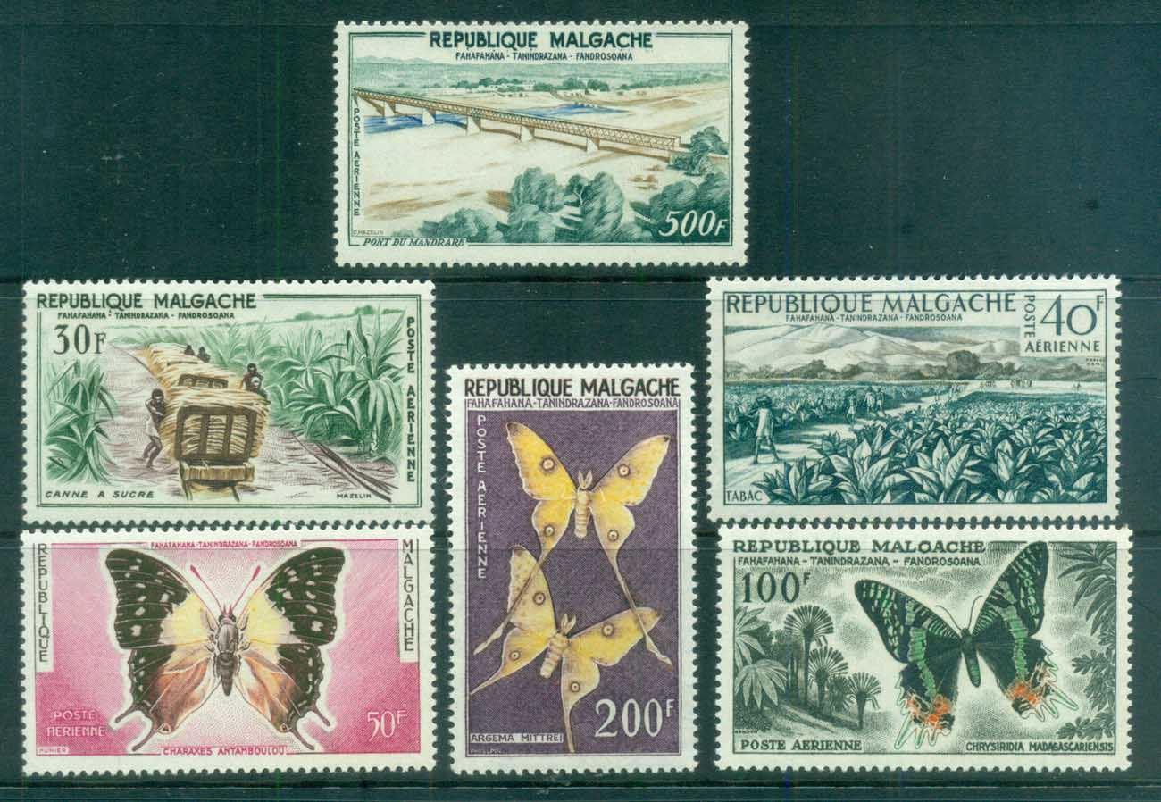 Madagascar 1960 Pictorials, Airmail, Butterflies, Bridge, Train, Tobacco MUH