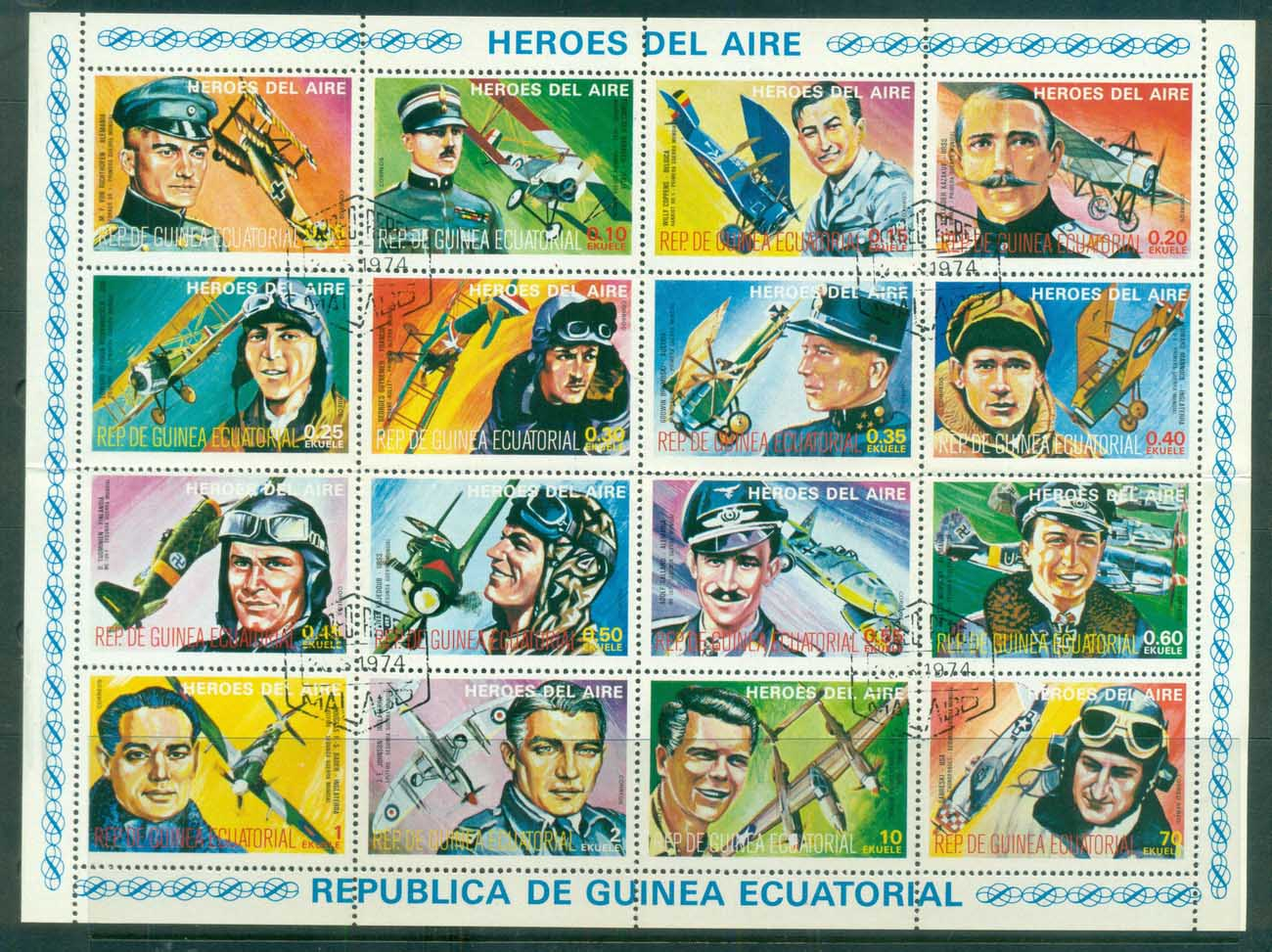 Equatorial Guinea 1974 Heroes of the Air Sheetlet CTO