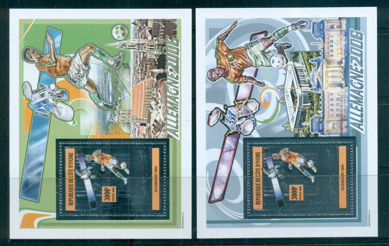 Ivory Coast 2006 World Cup Soccer, Embossed silver foiled 2xMS MUH