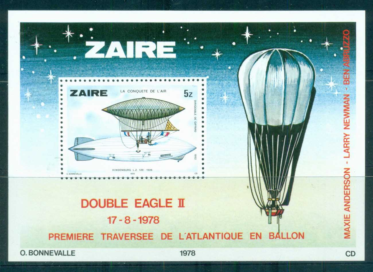 Zaire 1978 Transatlantic Balloon Crossing MS MUH