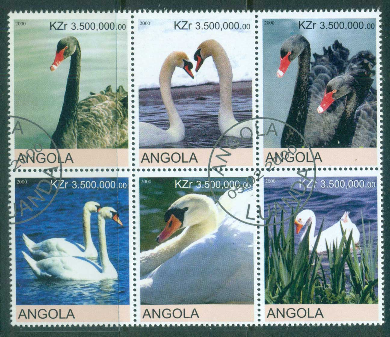 Angola 2000 Swans (Rebel Issue) CTO