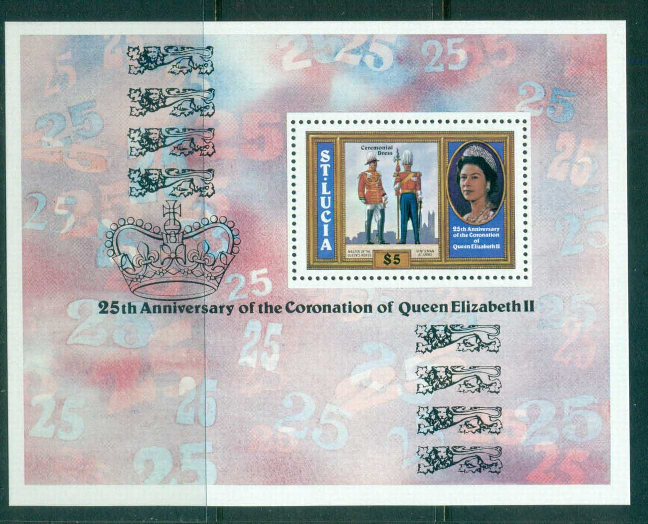 St Lucia 1978 QEII Coronation 25th Anniv MS MUH