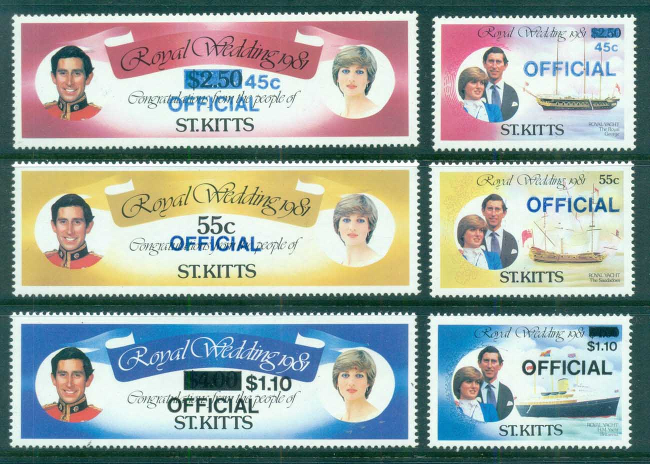 St Kitts 1981 Royal Wedding, Charles & Diana OFFICIAL MUH