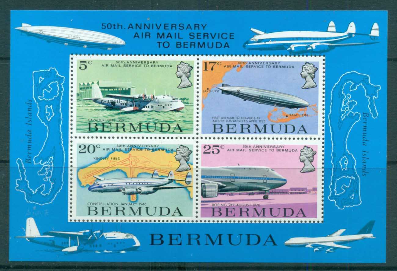 Bermuda 1975 Airmail Service 50th Anniv. MS MUH