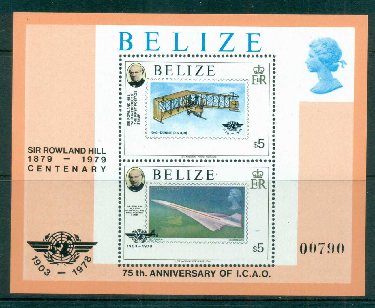 Belize 1979 Powered Flight 75th Anniv., Rowland Hill $5 MS MUH