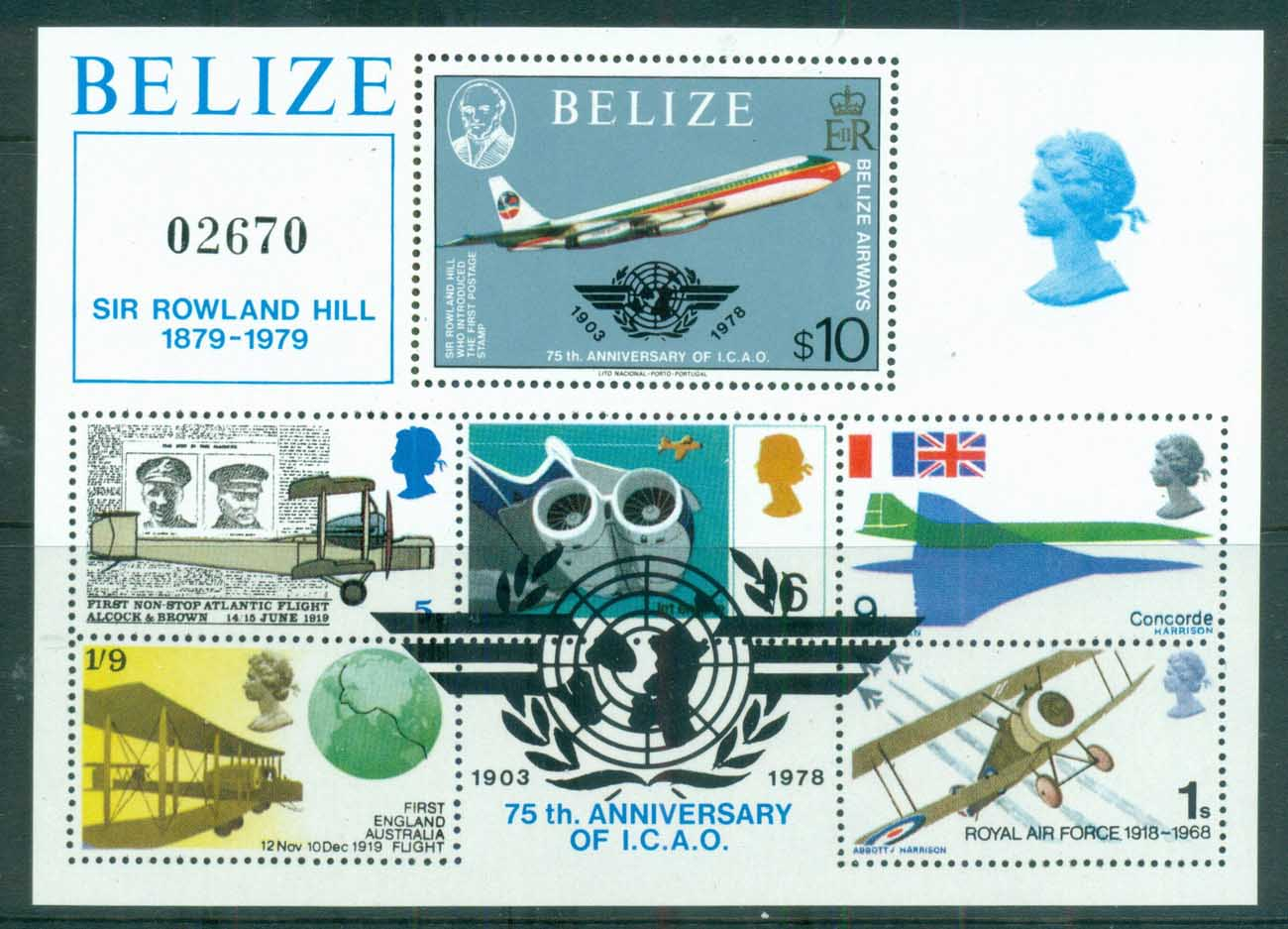 Belize 1979 Powered Flight 75th Anniv., Rowland Hill $10 MS MUH