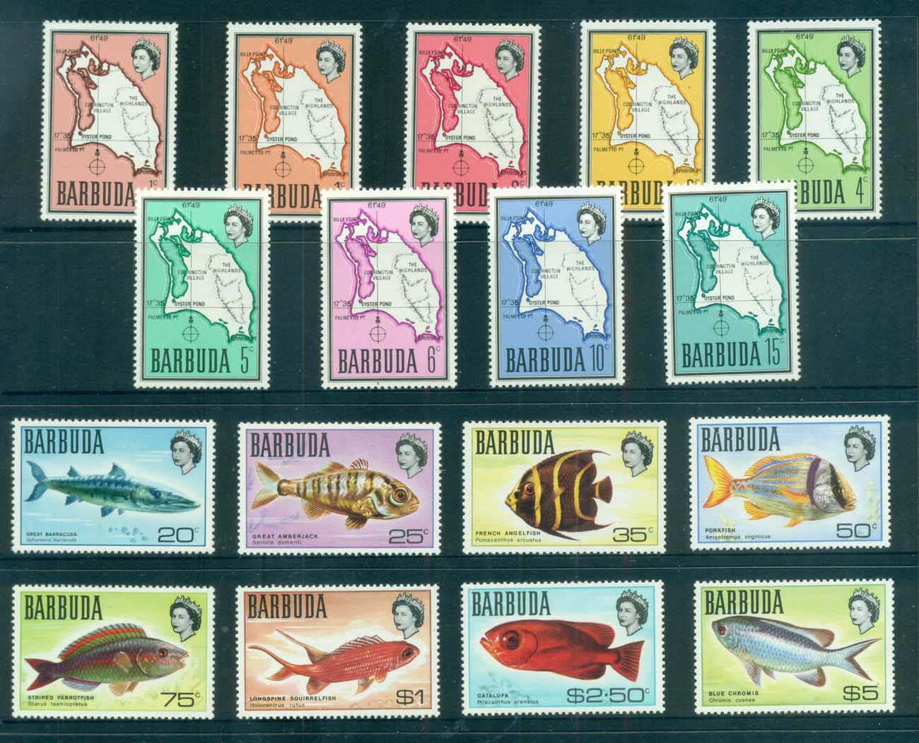 Barbuda 1968-70 Definitives,Map, Fish MUH