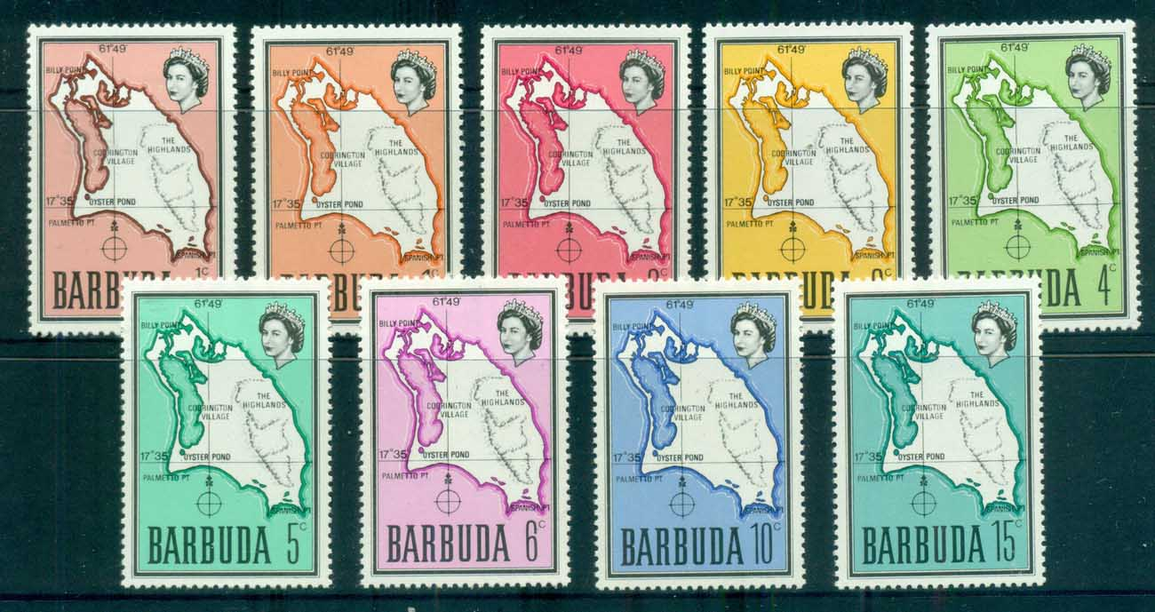 Barbuda 1968-70 Definitives,Map MUH