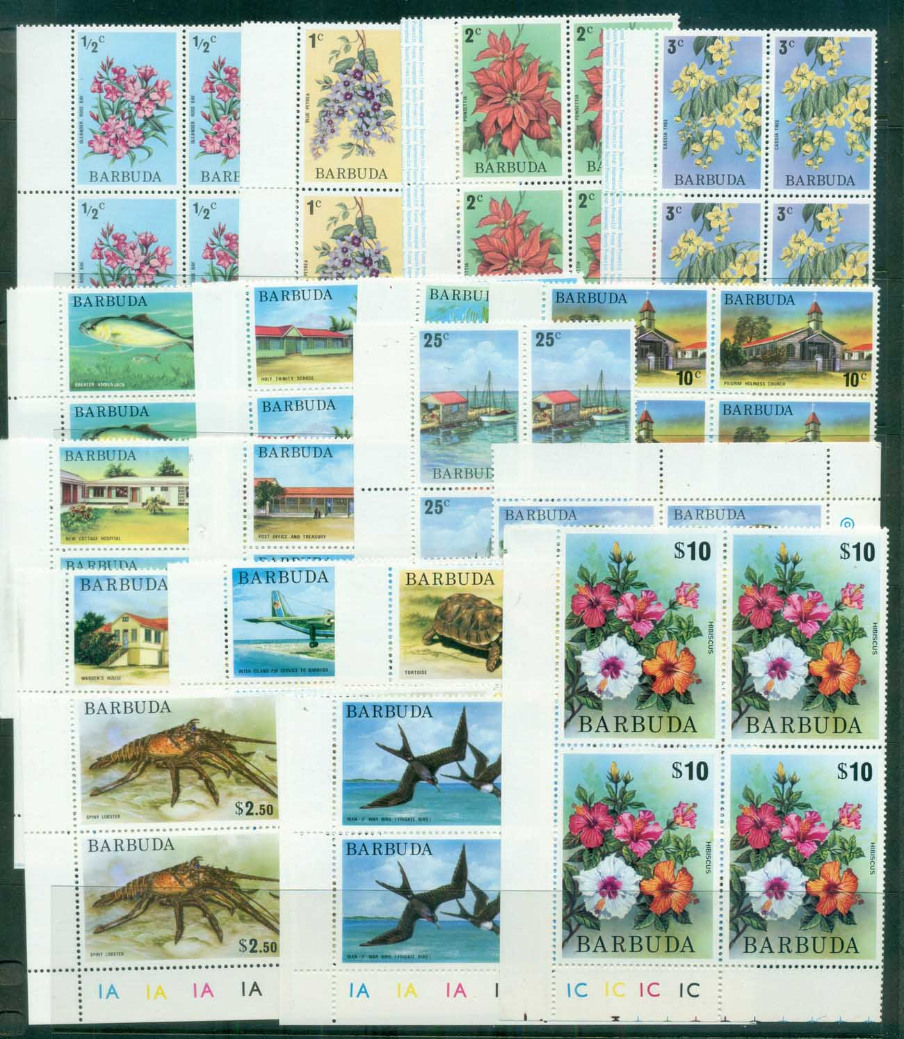Barbuda 1974-75 Pictorials, Flowers, Bird Blk 4 MUH