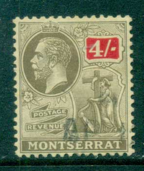 Montserrat 1922-29 KGV Symbol of Colony 4/- FU
