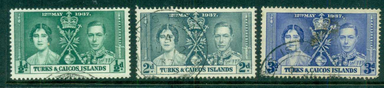 Turks & Caicos Is 1937 Coronation FU