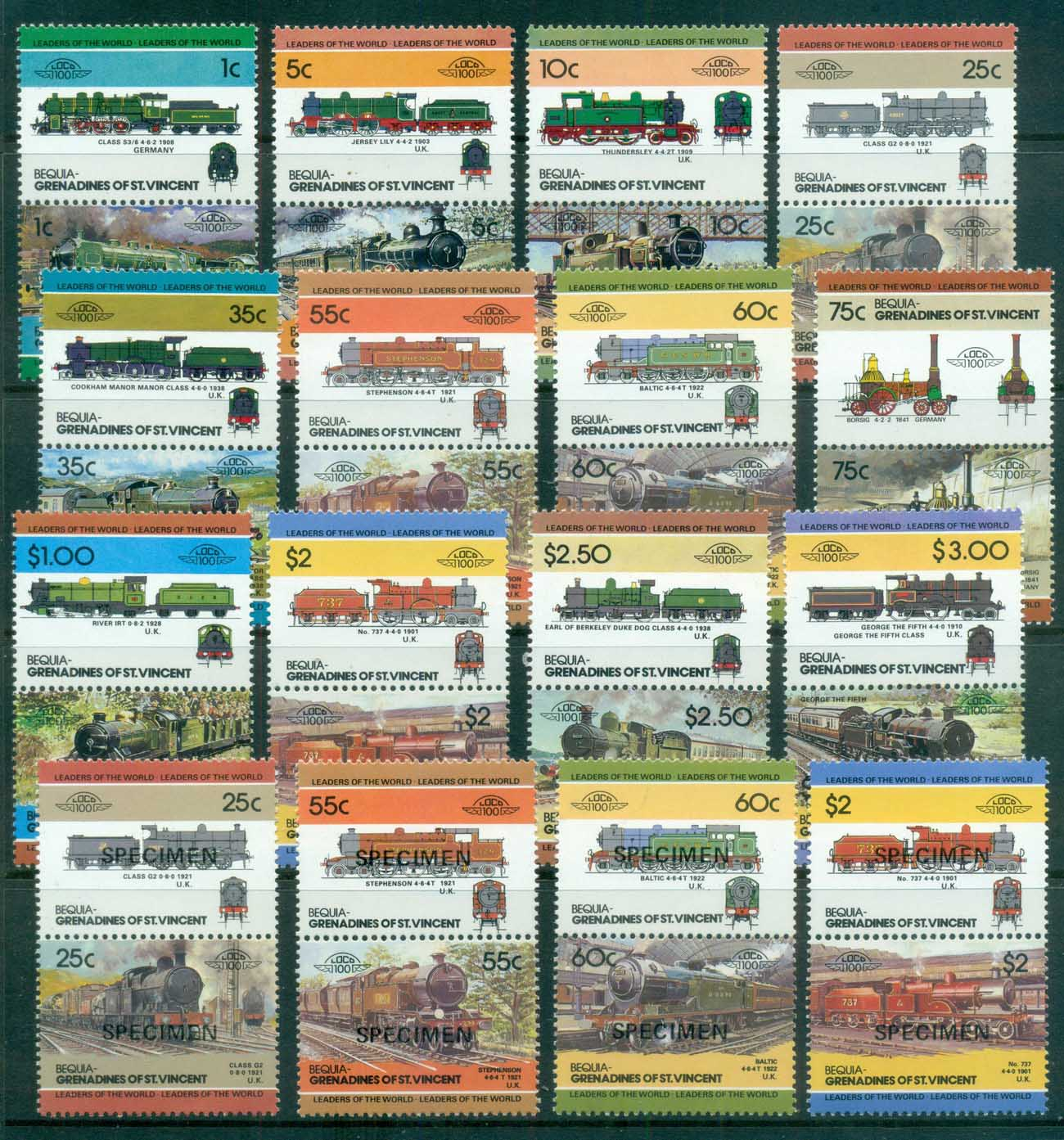 St Vincent Bequia 1984-87 LOW Locomotives, Trains inc. SPECIMEN Asst. MUH