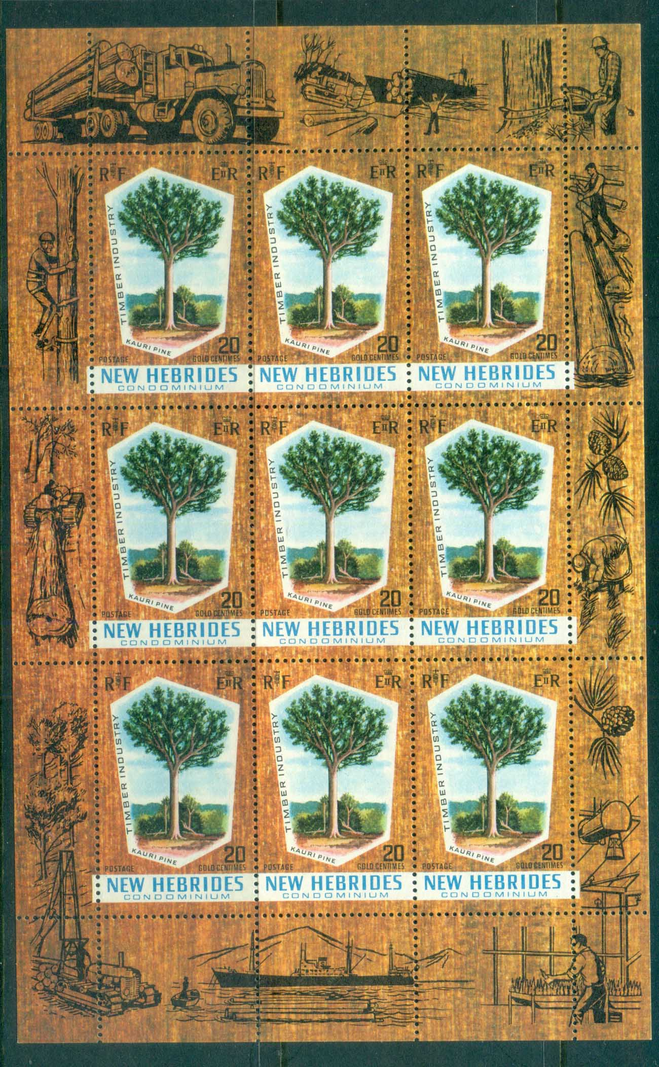 New Hebrides (Br) 1969 Kauri Pine Sheetlet MUH