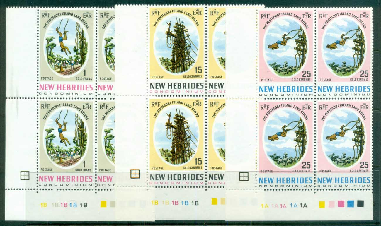 New Hebrides (Br) 1969 Land Divers of Pentecost Blk4 MUH