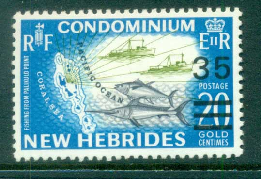 New Hebrides (Br) 1970 Pictorial Surch 35c on 20c Map, Fish MUH