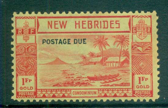 New Hebrides (Br) 1938 Postage Dues Opts 1fr (gum tones) MUH