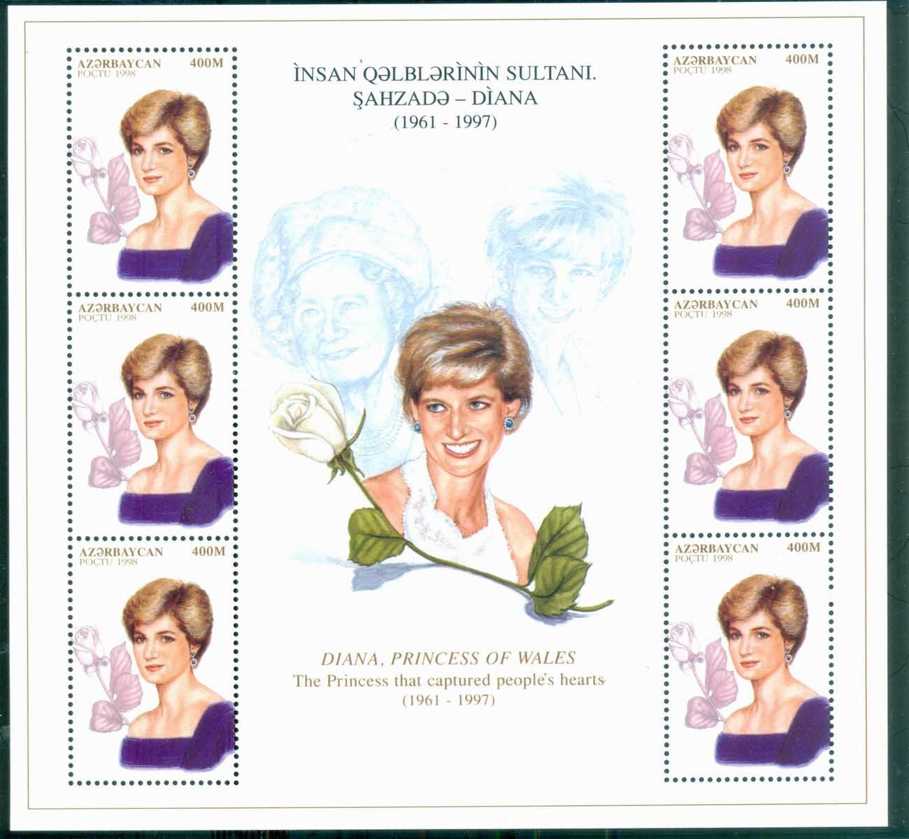 Azerbaijan 1998 Princess Diana in Memoriam, Portrait of a Princess & Queen MS MUH