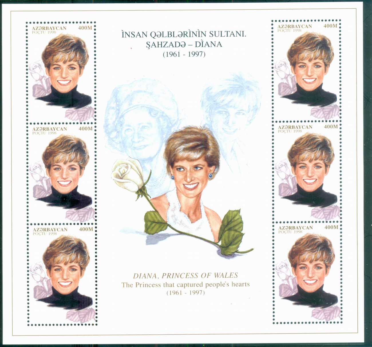 Azerbaijan 1998 Princess Diana in Memoriam, Memories of a Princess MS MUH