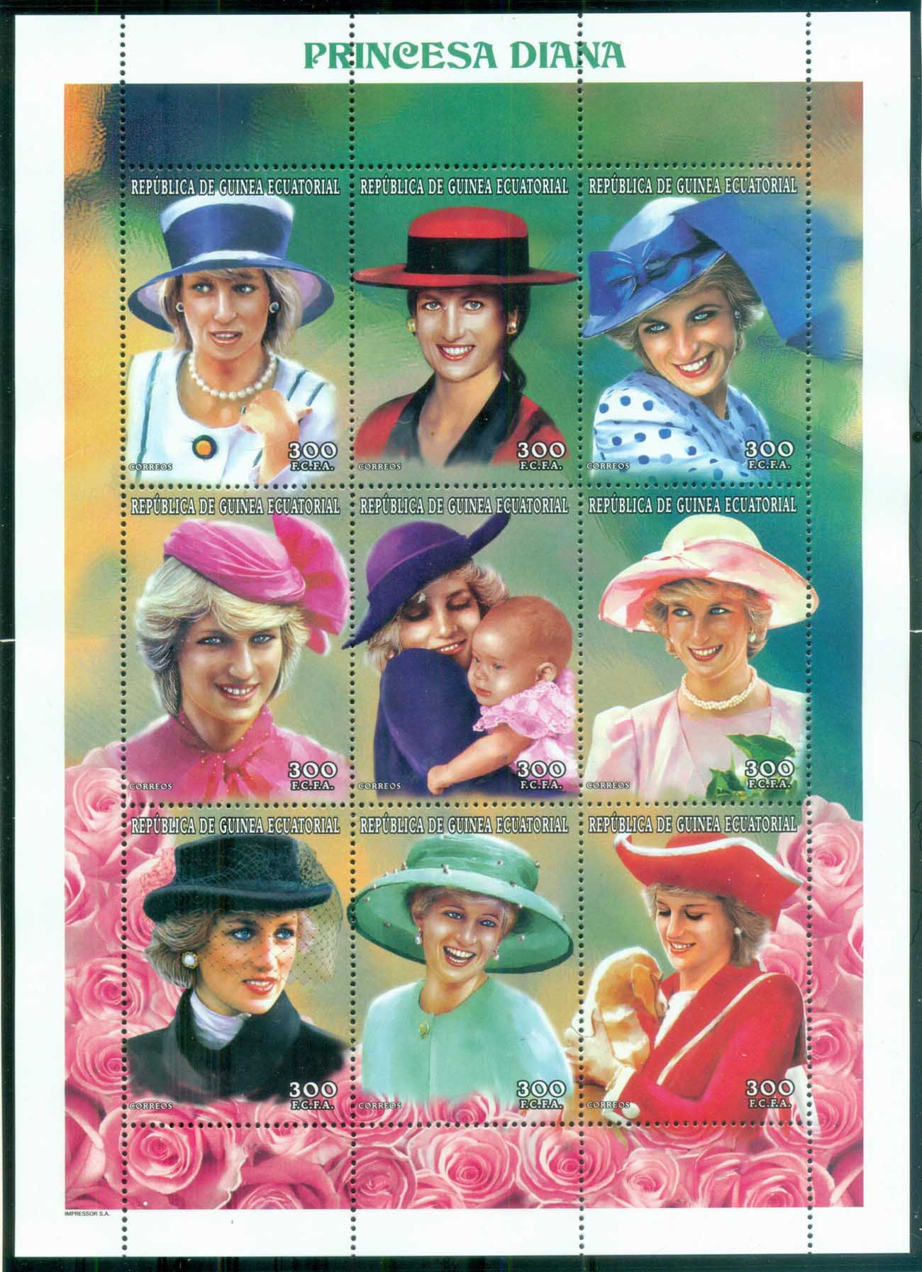 Equatorial Guinea 1997 Princess Diana in Memoriam, England's Rose in her Many Hats MS MUH