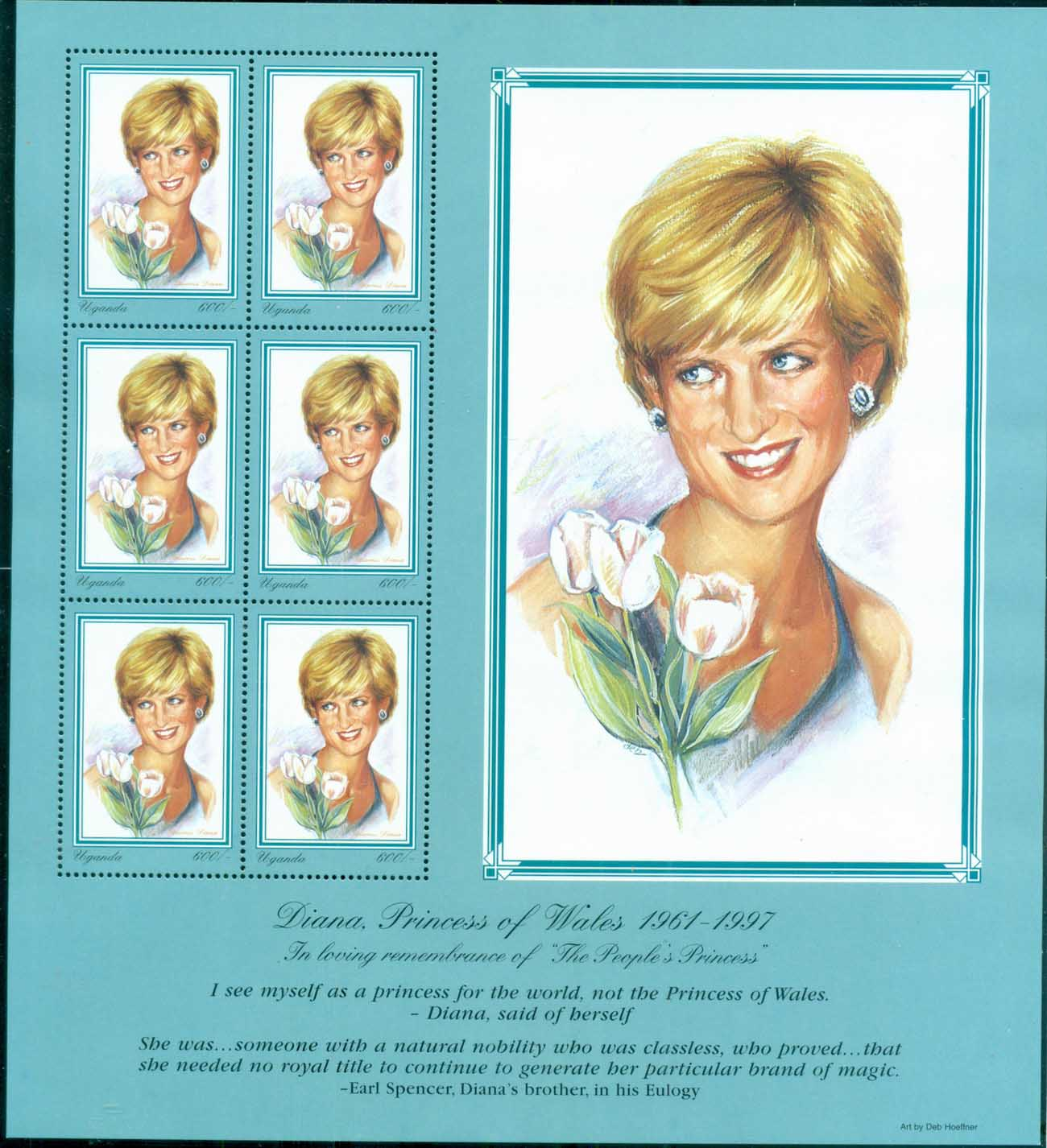Uganda 1998 Princess Diana in Memoriam, The Flower of England MS MUH