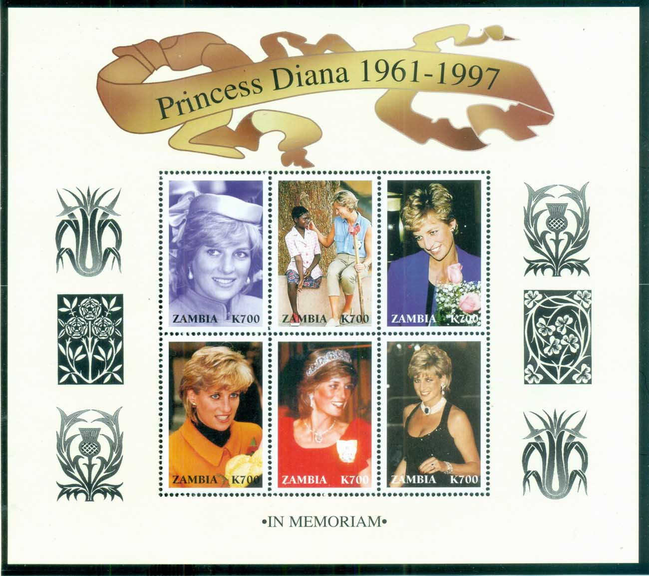 Zambia 1997 Princess Diana in Memoriam, Diana Out & About 700k MS MUH