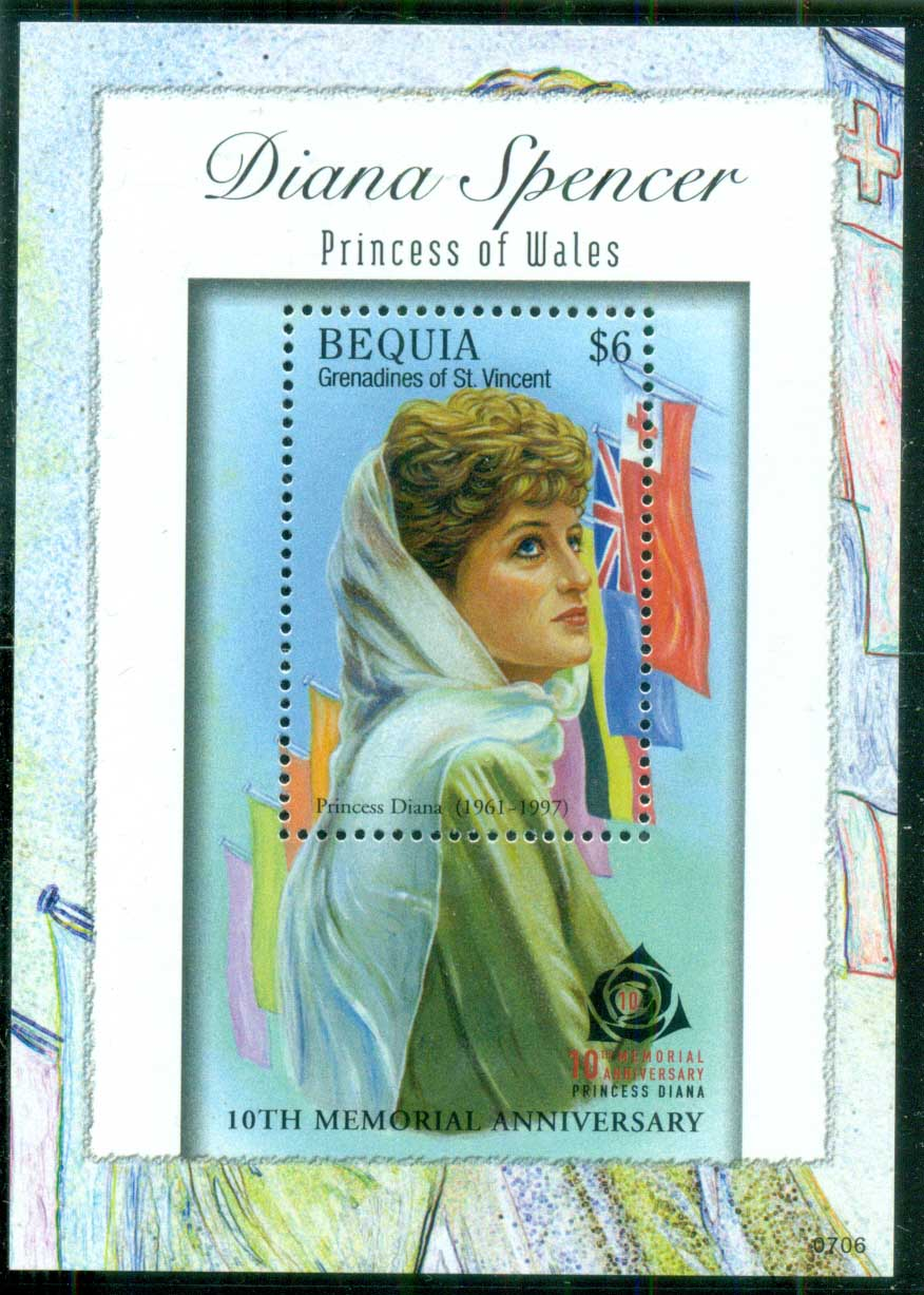 St Vincent Bequia 2007 Princess Diana in Memoriam, 10th Anniv., Tribute to Diana MS MUH