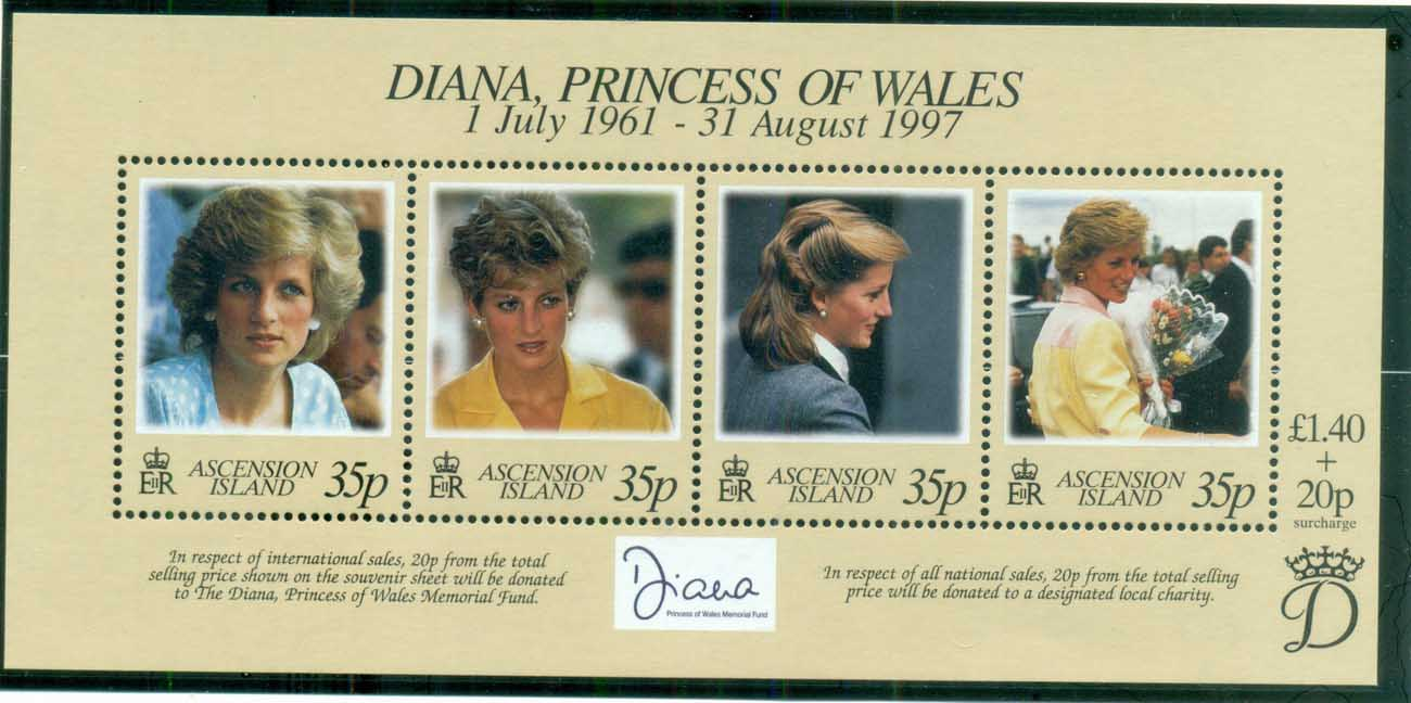 Ascension Is 1998 Princess Diana in Memoriam, Lady Diana, Princess of Wales MS MUH