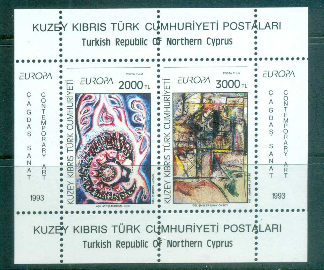 Cyprus Turkish 1993 Europa Contemporary Paintings MS MUH