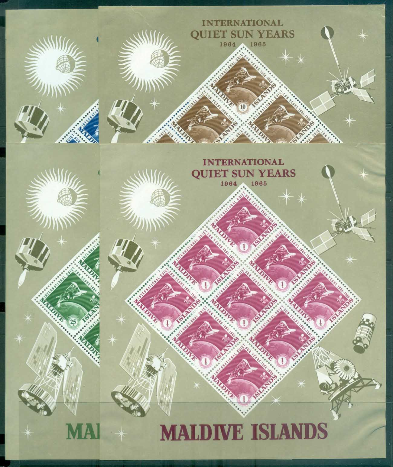 Maldive Is 1965 Quiet Sun Year Sheetlets 4x (corner faults) MLH