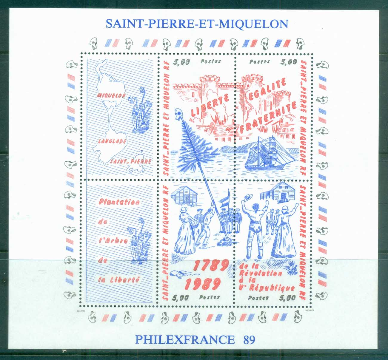 St Pierre & Miquelon 1989 French Revolution Bicentenary MS MUH