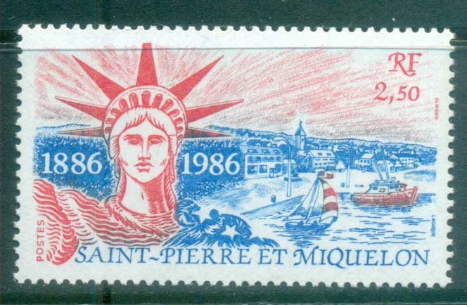 St Pierre & Miquelon 1986 Statue of Liberty Cent MUH