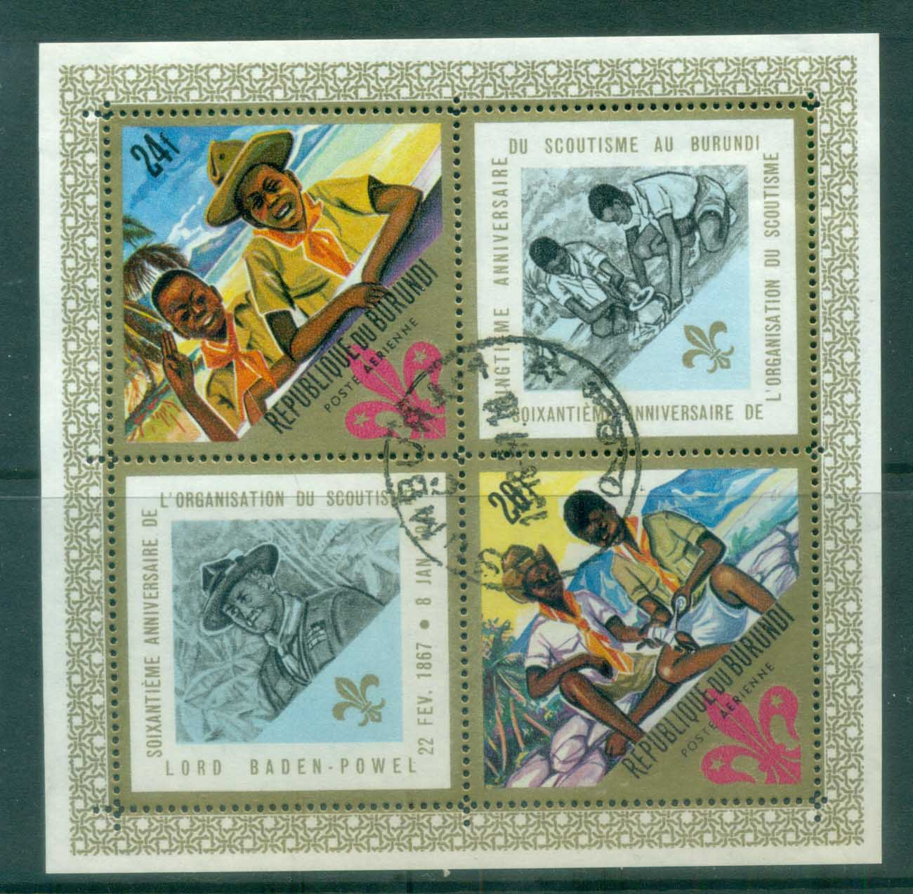 Burundi 1967 Boy Scouts 60th Anniv. MS CTO