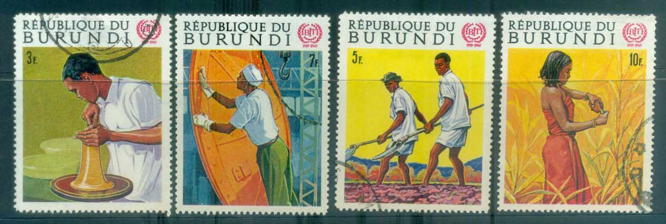 Burundi 1969 ILO 50th Anniv (faults) CTO