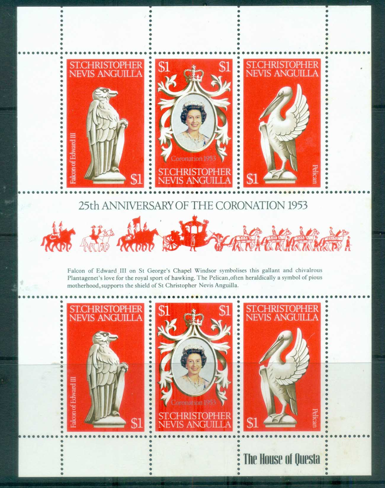St Christopher Nevis Anguilla 1978 QEII Coronation 25th Anniv. MS MUH