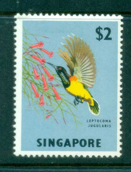 Singapore 1963 Pictorials, Yellow breasted Sunbirs $2 MLH