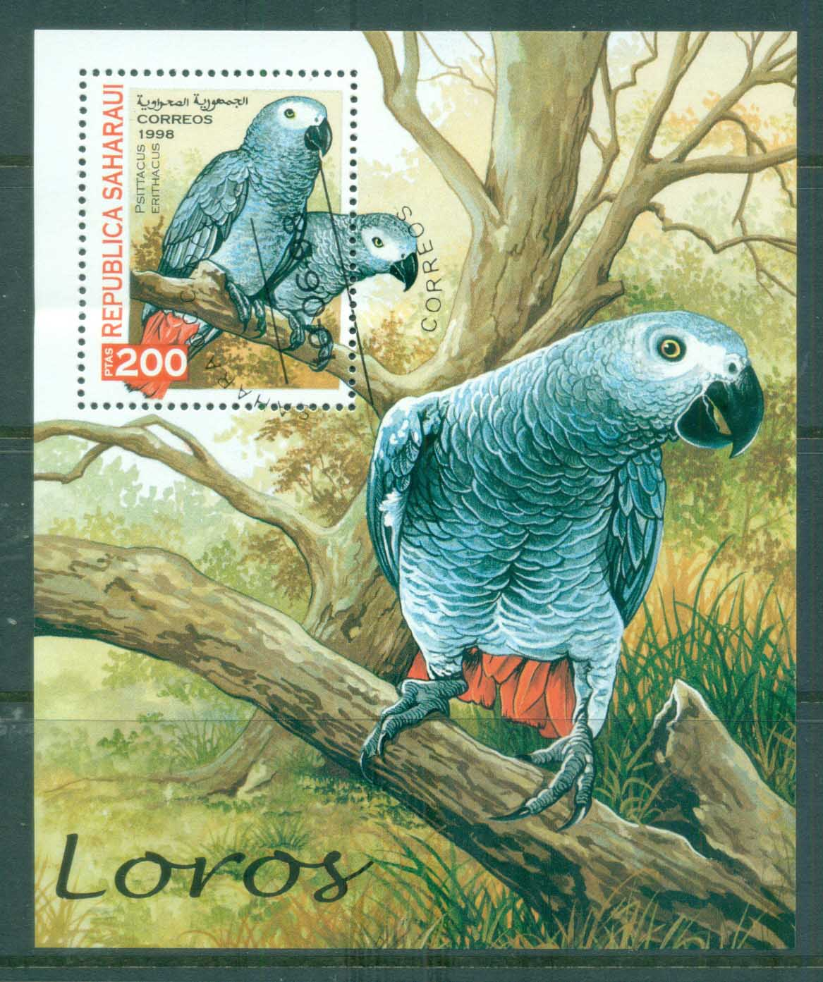 Sahara Occidental 1998 Birds, parrots MS CTO
