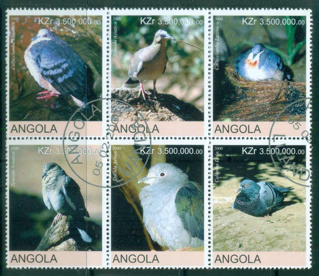 Angola 2000 Birds, Pigeon (Rebel Issue) CTO