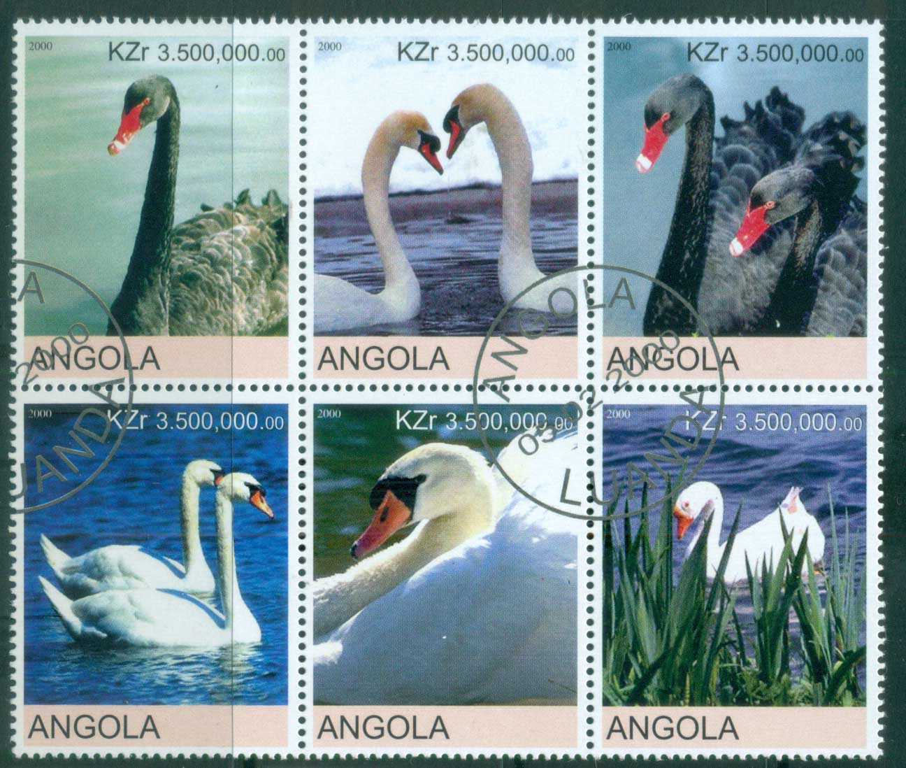 Angola 2000 Birds, Swans (Rebel Issue) CTO