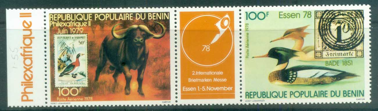 Benin 1978 Philexafrique, Birds, Buffalo pr + label MUH