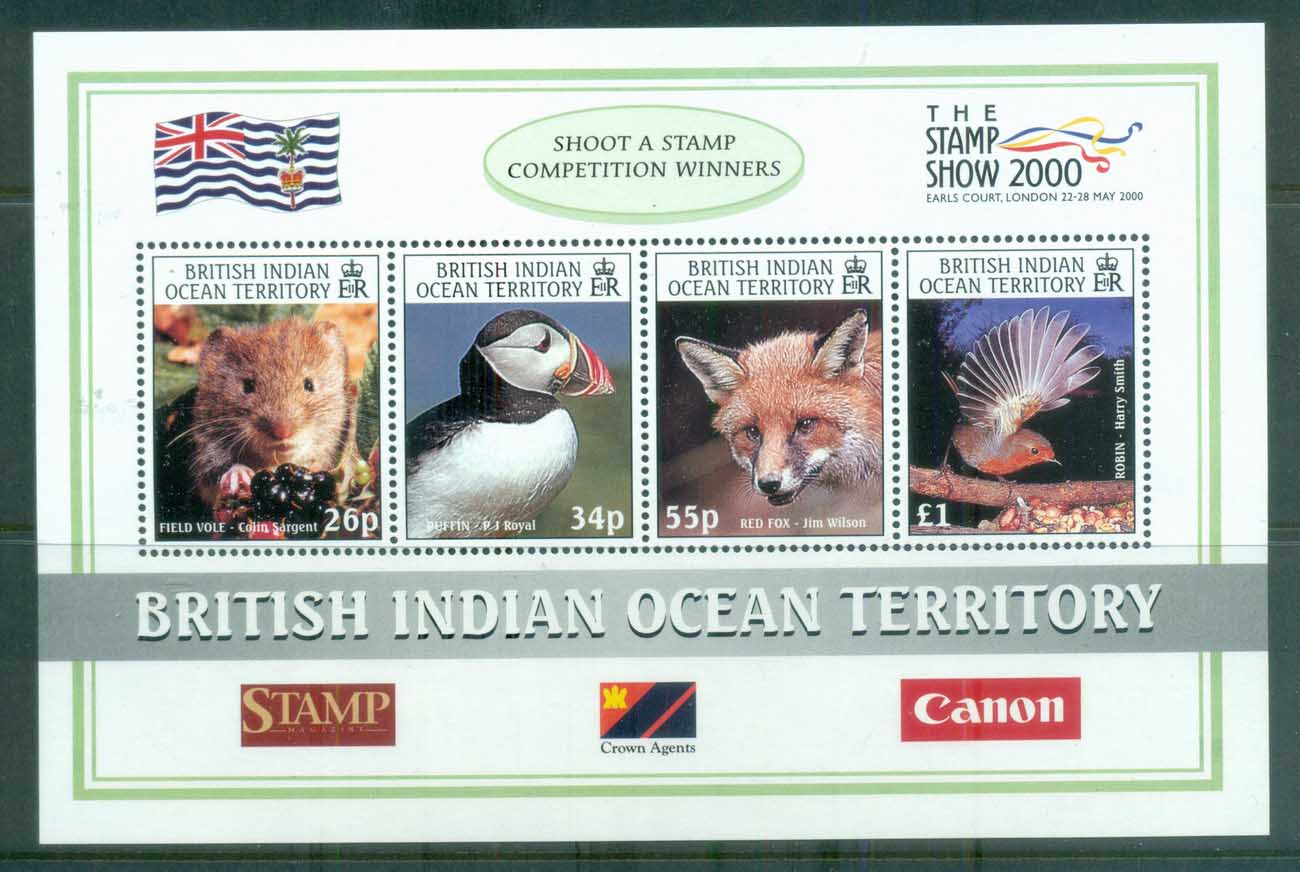 BIOT 2000 Wildlife, Londom Stamp Show, Birds MS MUH