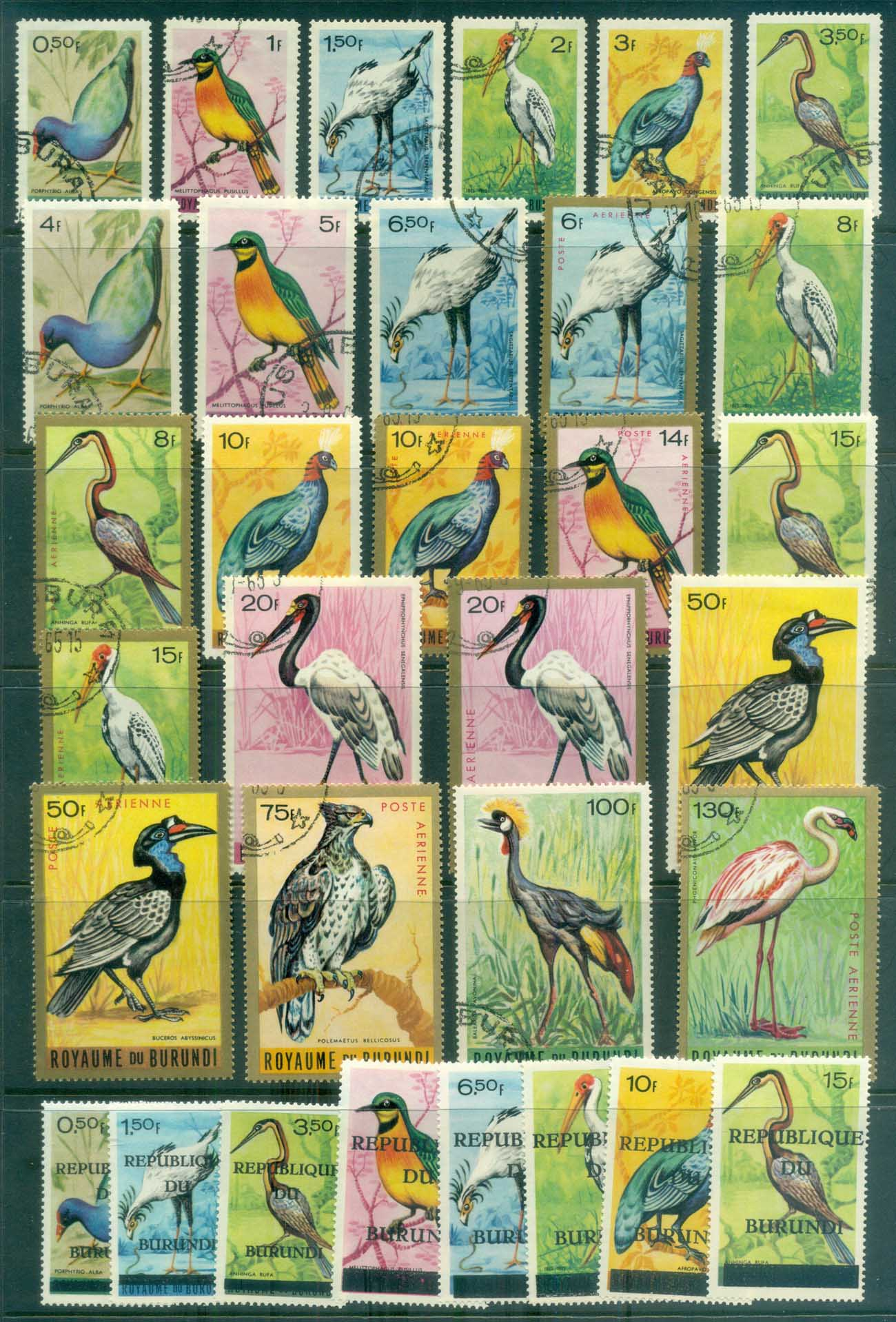 Burundi 1965 on Pictorials, Birds Asst inc Opts CTO