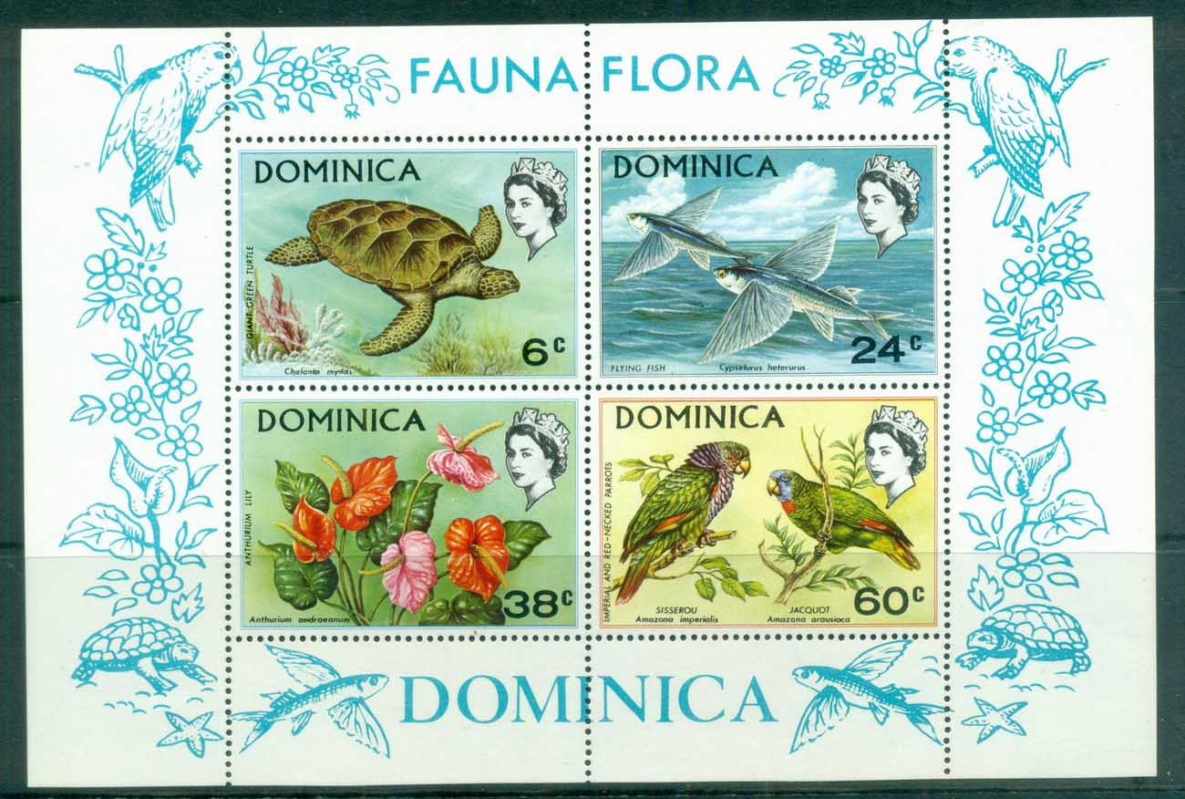 Dominica 1970 Flora & Fauna, Bird, Flower MS MUH