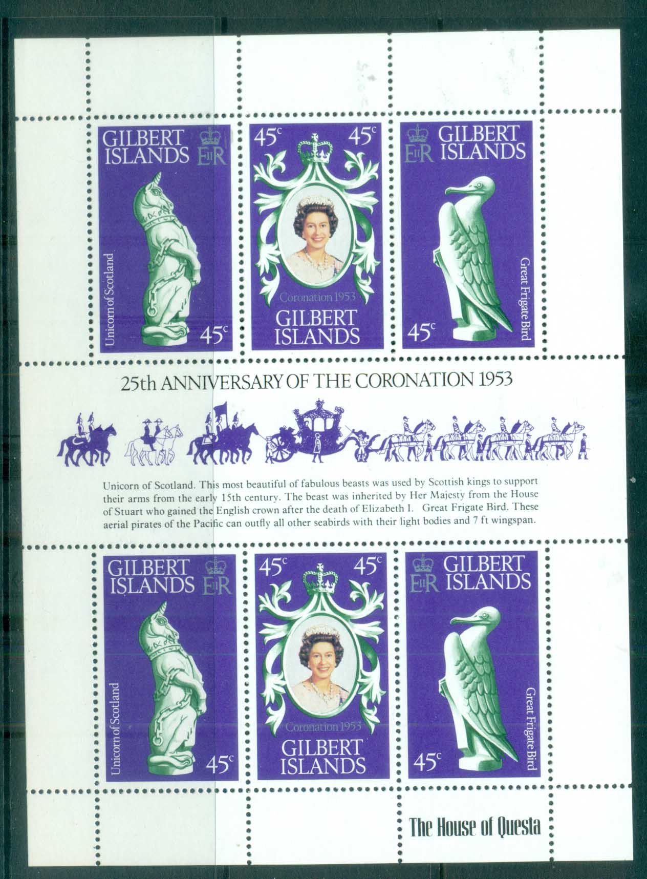 Gilbert Is 1978 QEII Coronation 25th Anniv MS MUH