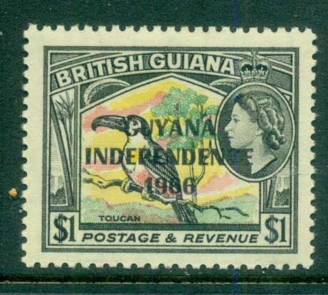 Guyana 1966-67 QEII Pictorials , Toucan $1 Opt Independence MUH