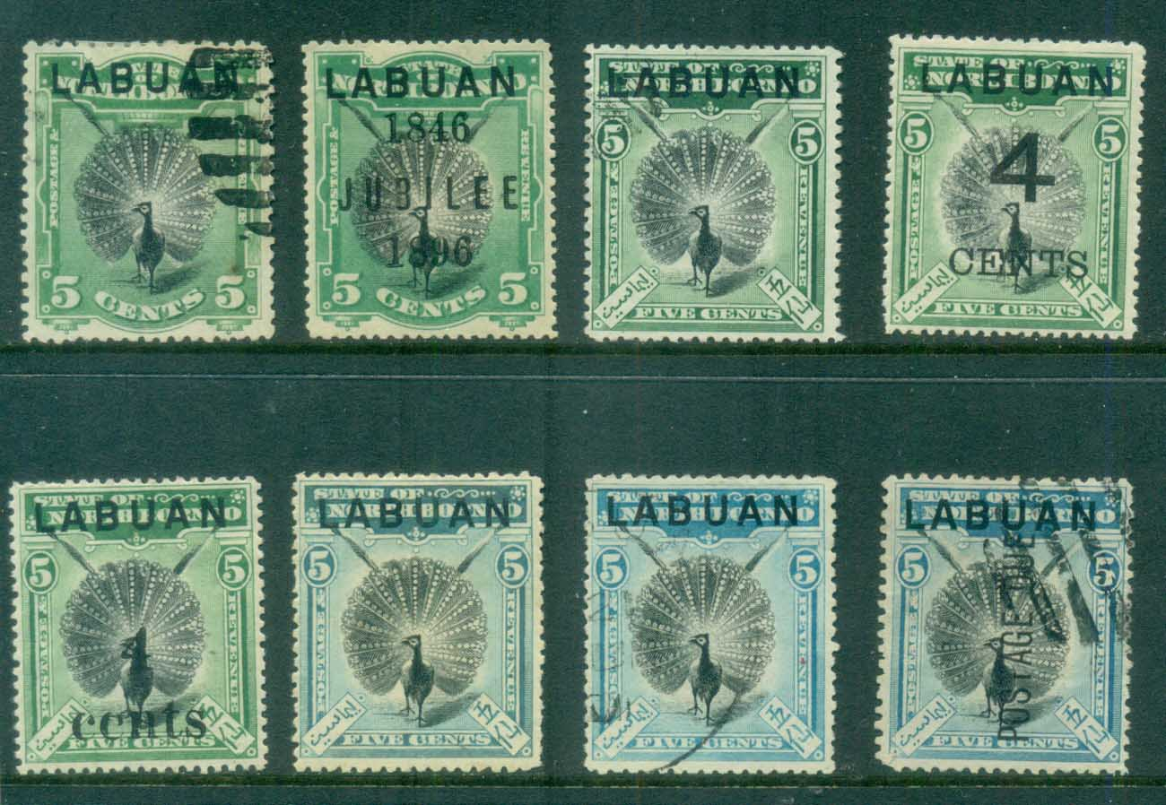 Labuan 1894 on Birds Asst (8) , Peacock MLH/CTO